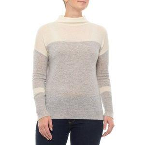 Tahari PURE LUXE Color-Block Sweater 100% Cashmere